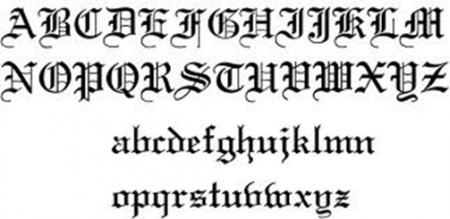 Alphabet Of All The Olde English Letters Both Upper And Lower Case