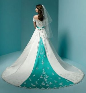 Colorful wedding gowns colorful wedding dresses this is an image of a white wedding dress with a turquoise strip in it junglespirit Image collections