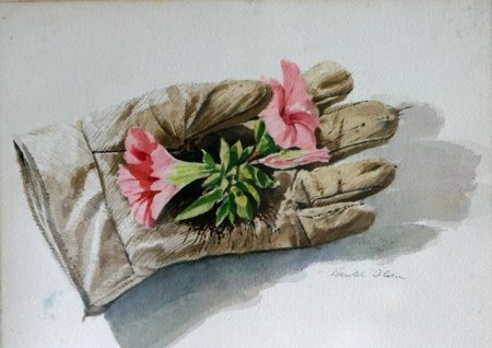 Gardening Gloves with Flowers in Palm